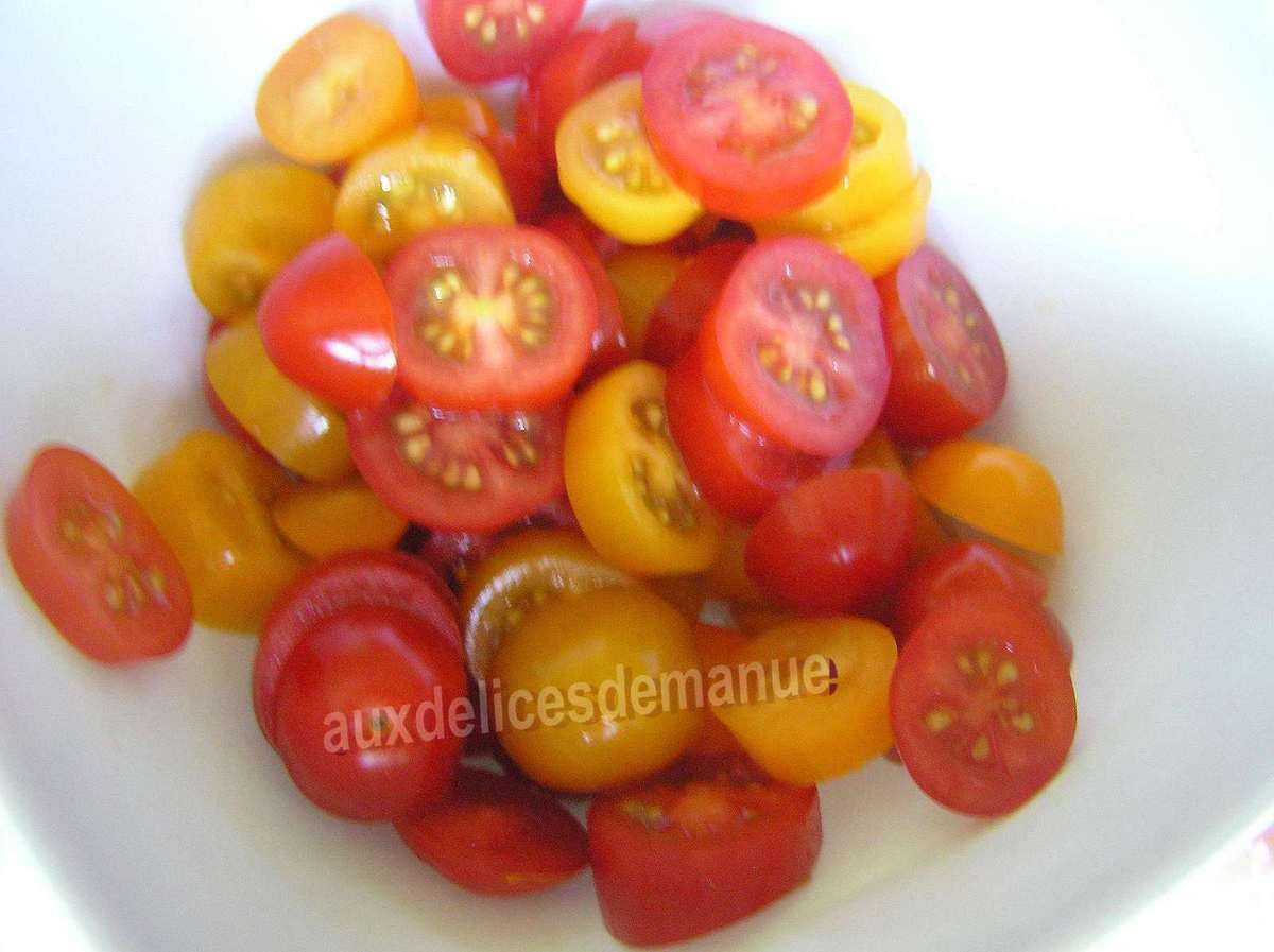 tartines grillées crème d'oeuf, tomates courgettes