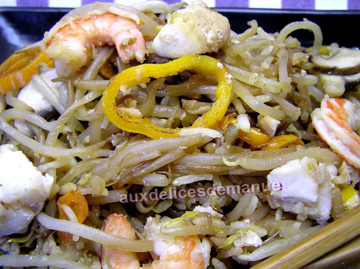 poêlée de soja et riz aux champignons, poivrons, églefin et crevettes -LIGHT-