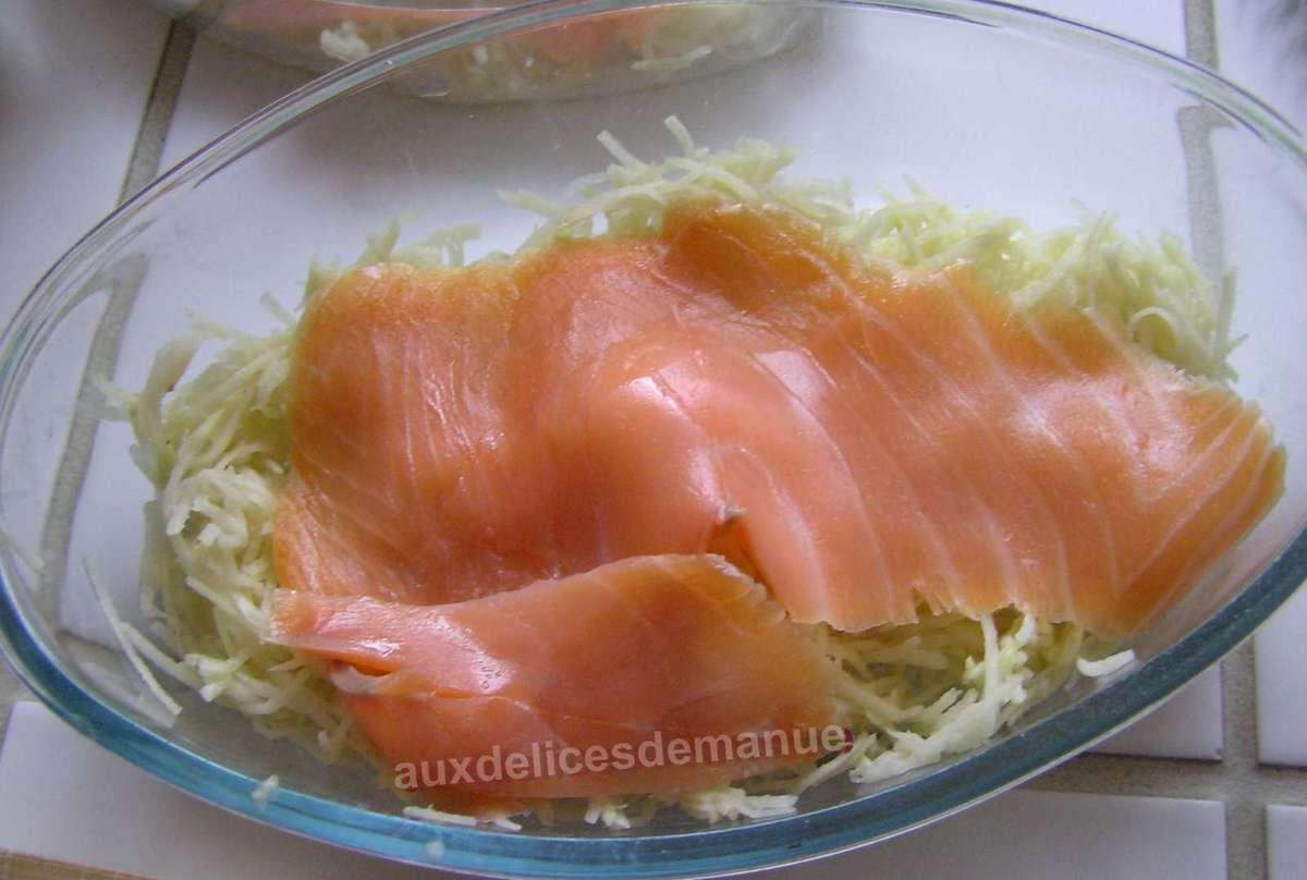gratin de pommes de terre et courgette râpées au saumon fumé - LIGHT -