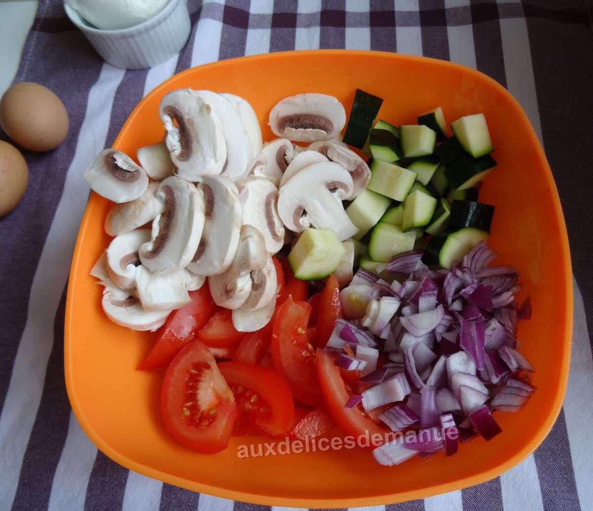 quiche tomates, courgette, champignons, mozzarella et bacon