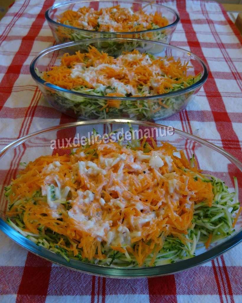 gratin  de courgettes et carottes aux  pommes de terre et jambon de poulet -LIGHT-