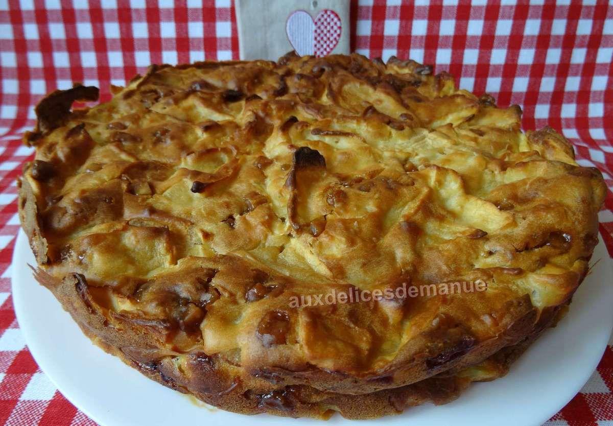 gâteau-flan aux pommes et pépites de caramel