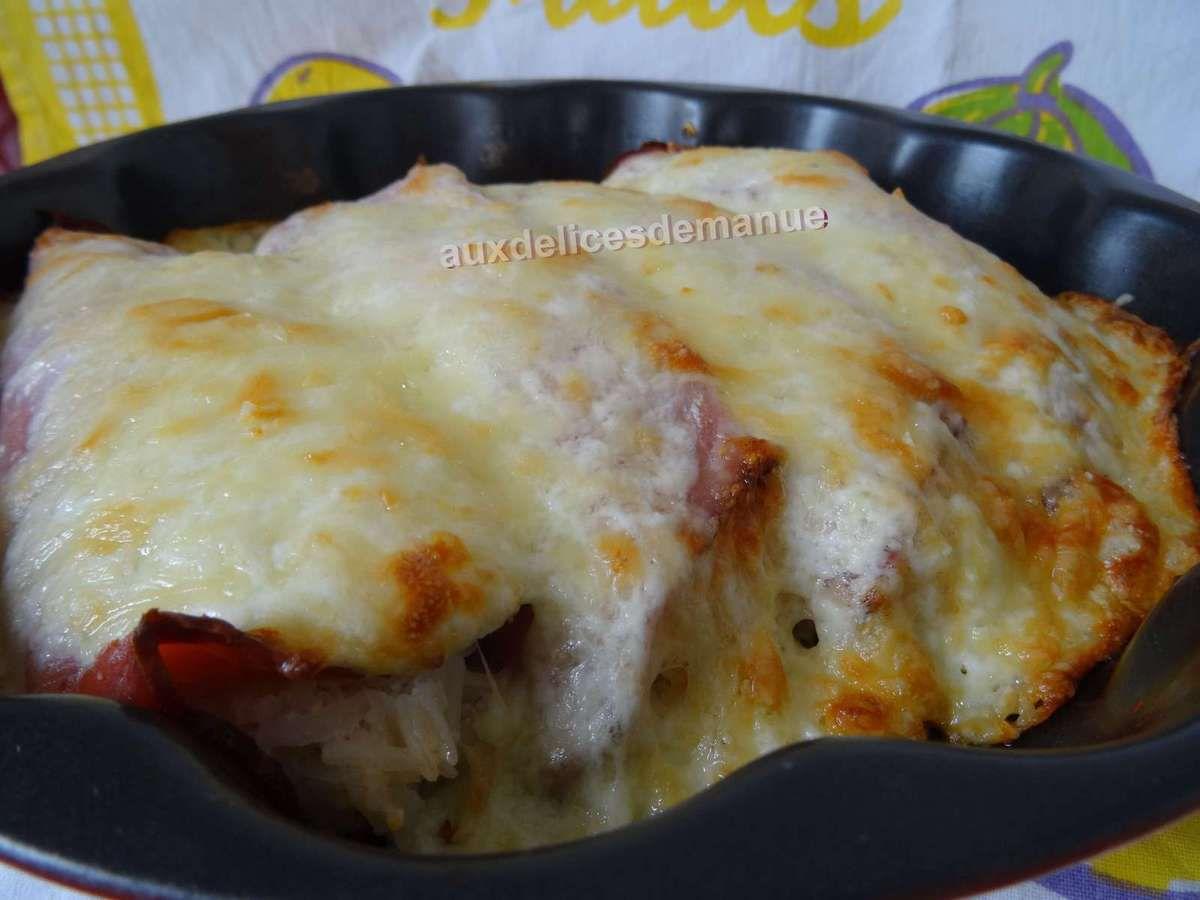 gratin de riz crémeux au jambon, fromage frais et tomates confites