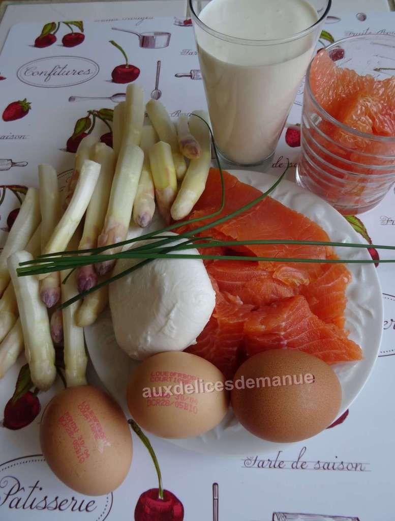 quiche sans pâte aux asperges, 2 truites, mozzarella et pamplemousse