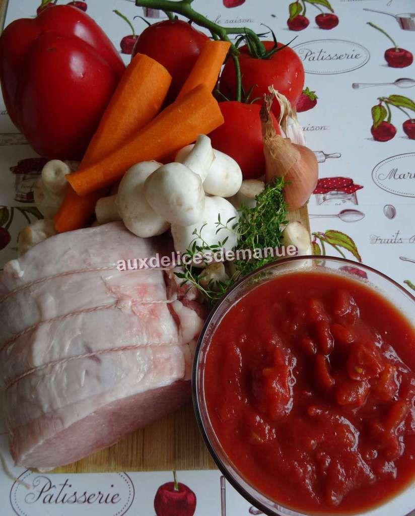 rôti de porc moelleux aux légumes