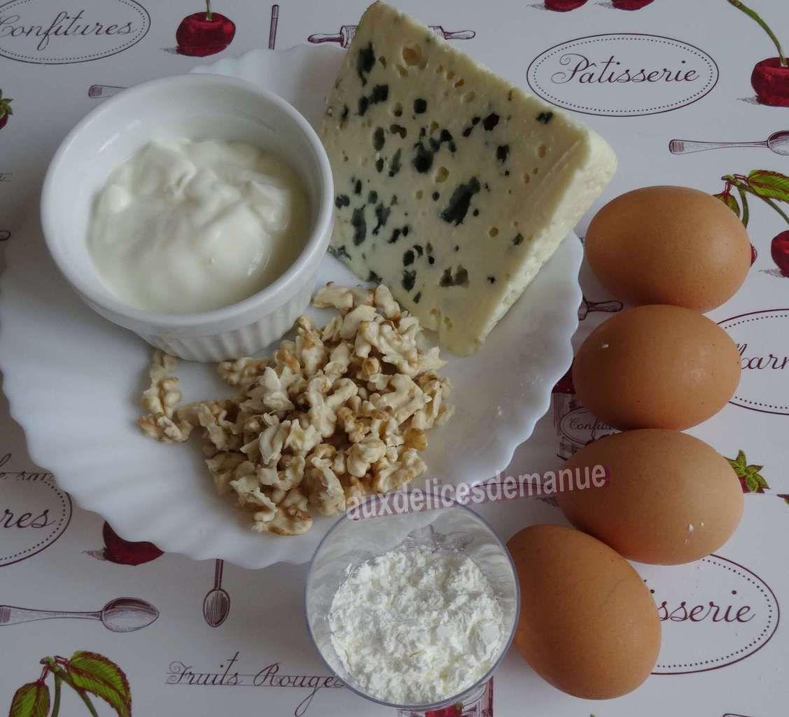 Flan aux noix, Roquefort et oignon rouge
