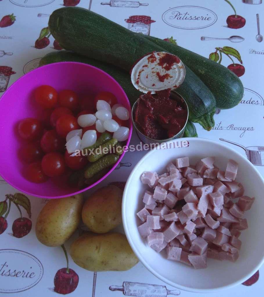 Courgettes aux tomates, jambon et oignons, sauce piquante -LIGHT- Cookéo ou pas