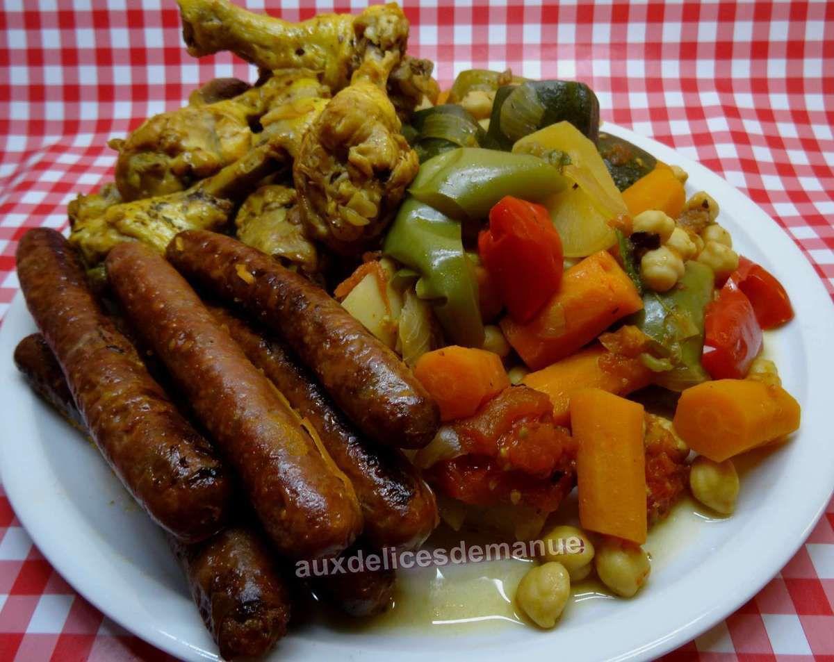 Favori Couscous aux légumes frais, poulet et merguez épices couscarissa  QR12