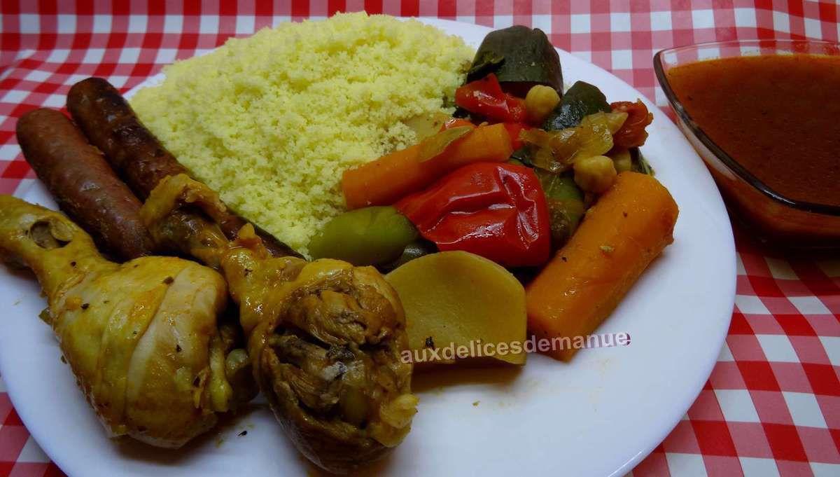 Couscous aux légumes frais, poulet et merguez épices couscarissa