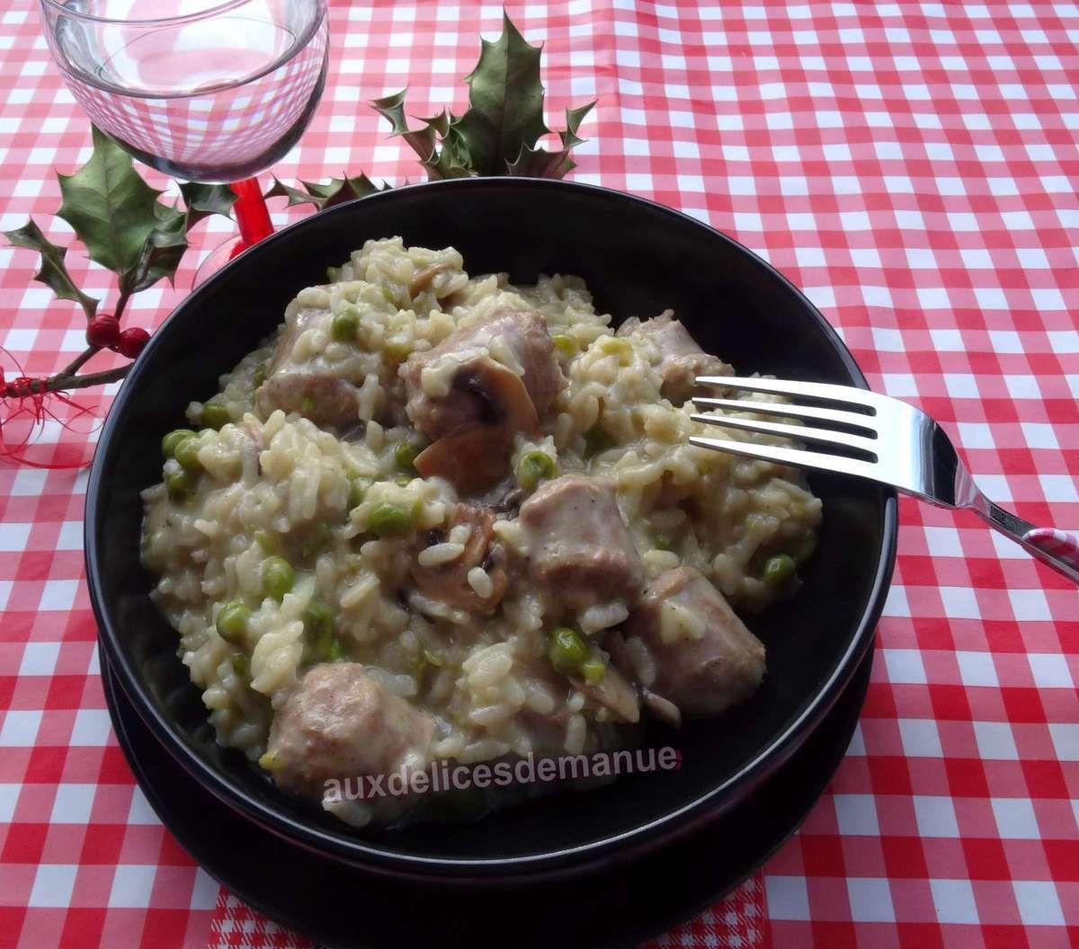 Risotto aux champignons petits pois et saucisses de - Comment cuisiner des petit pois en boite ...