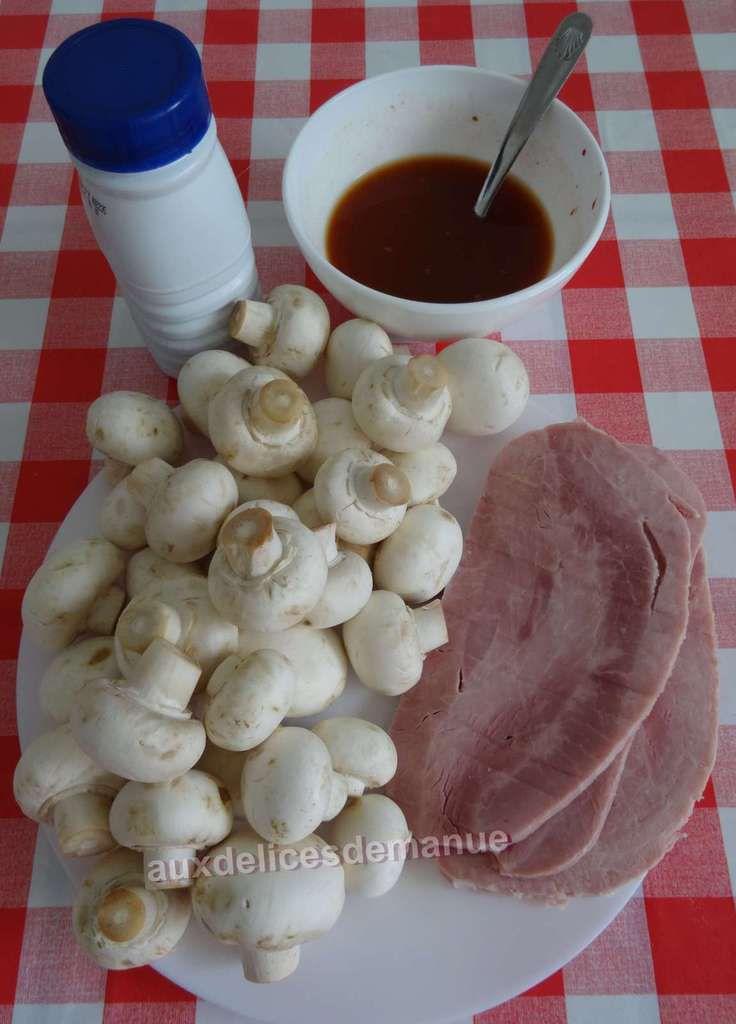 Jambon poêlé aux champignons et asperges sauce au vin blanc -LIGHT-