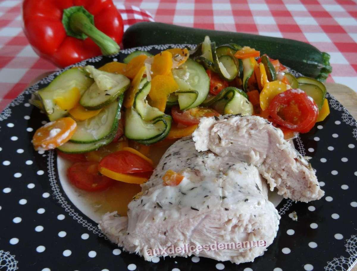 dinde - courgettes - carottes - poivron - recette light - recette légère - papillote