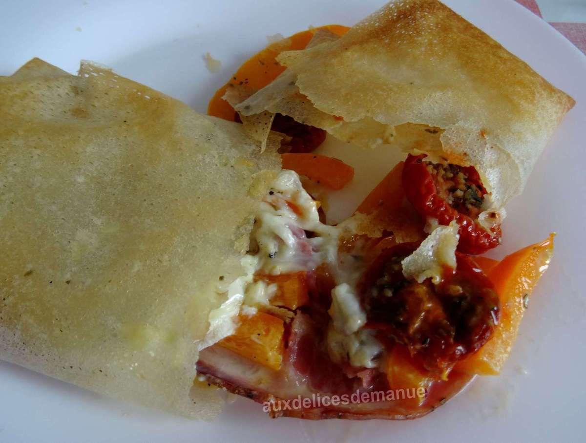 feuilles de brick - pancetta - Rocamadour - cuisson au four - entrée