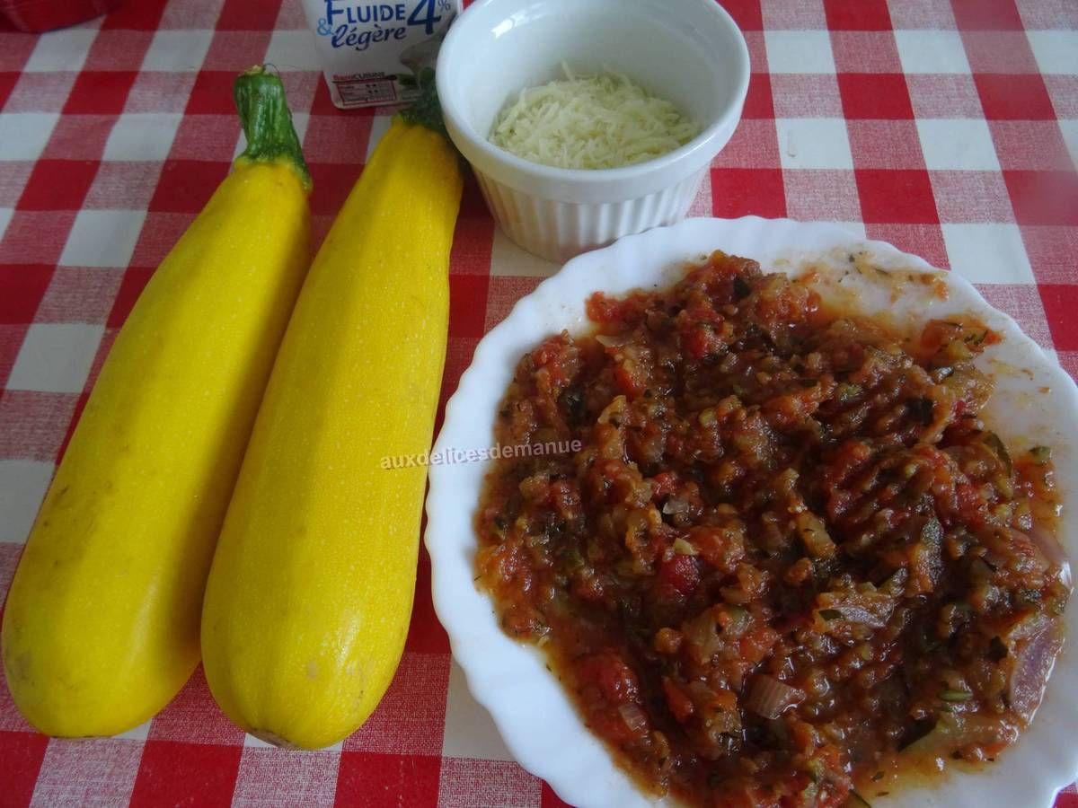 Courgettes au confit d'aubergine au bœuf, façon lasagnes