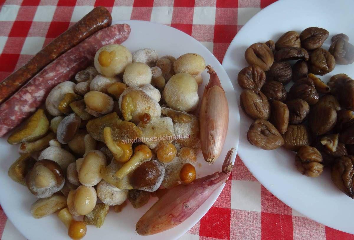 Poêlée de champignons et marrons, au cidre et à la crème