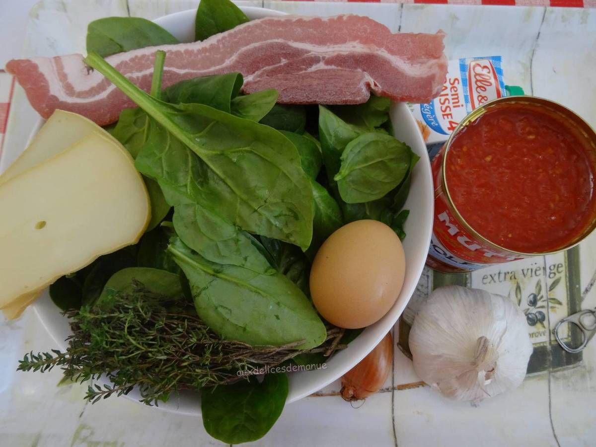 Epinards à l'œuf et sauce tomate