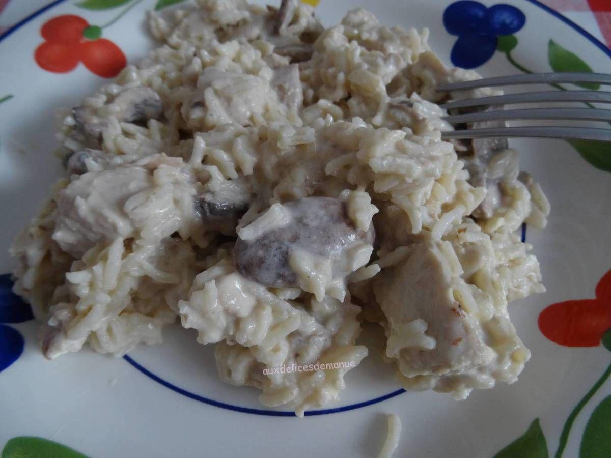 Emincés de dinde au riz et champignons, extra crémeux et moelleux au M. Cuisine ou pas