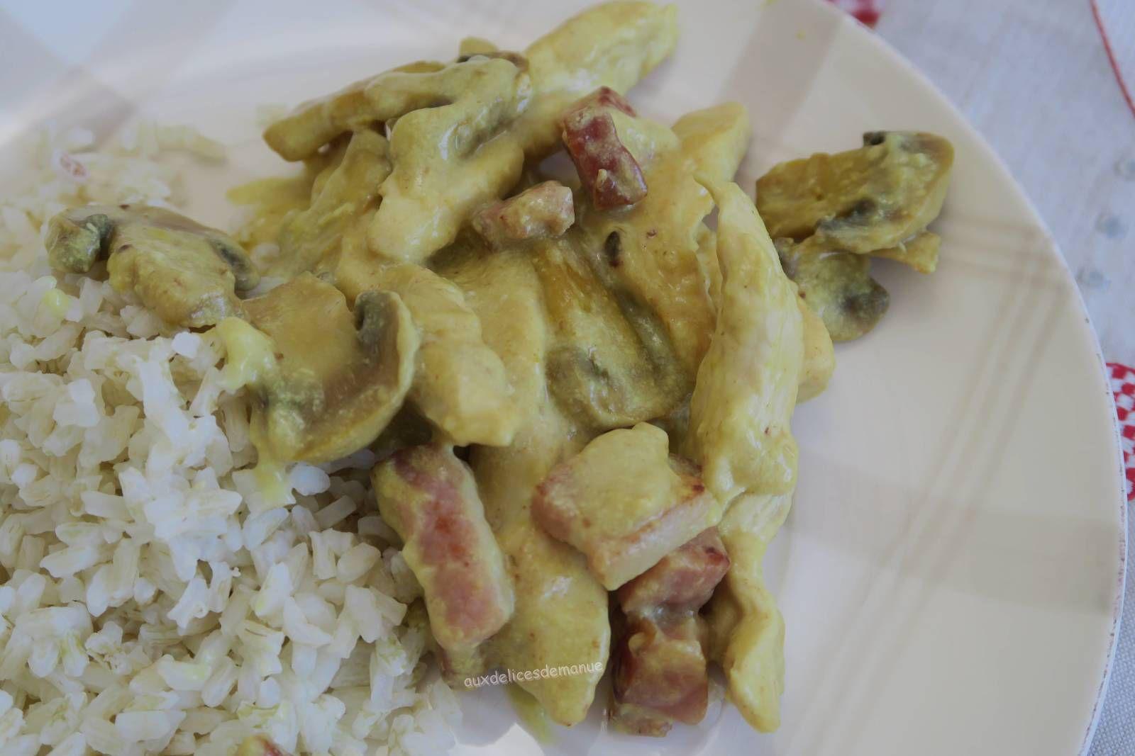poulet,émincés,volaille,poitrine fumée,champignons,curcuma,lardons