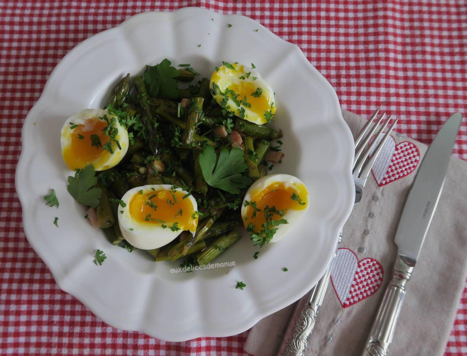 asperges,bacon,entrée,œufs,œufs mollets,printemps,asperges vertes