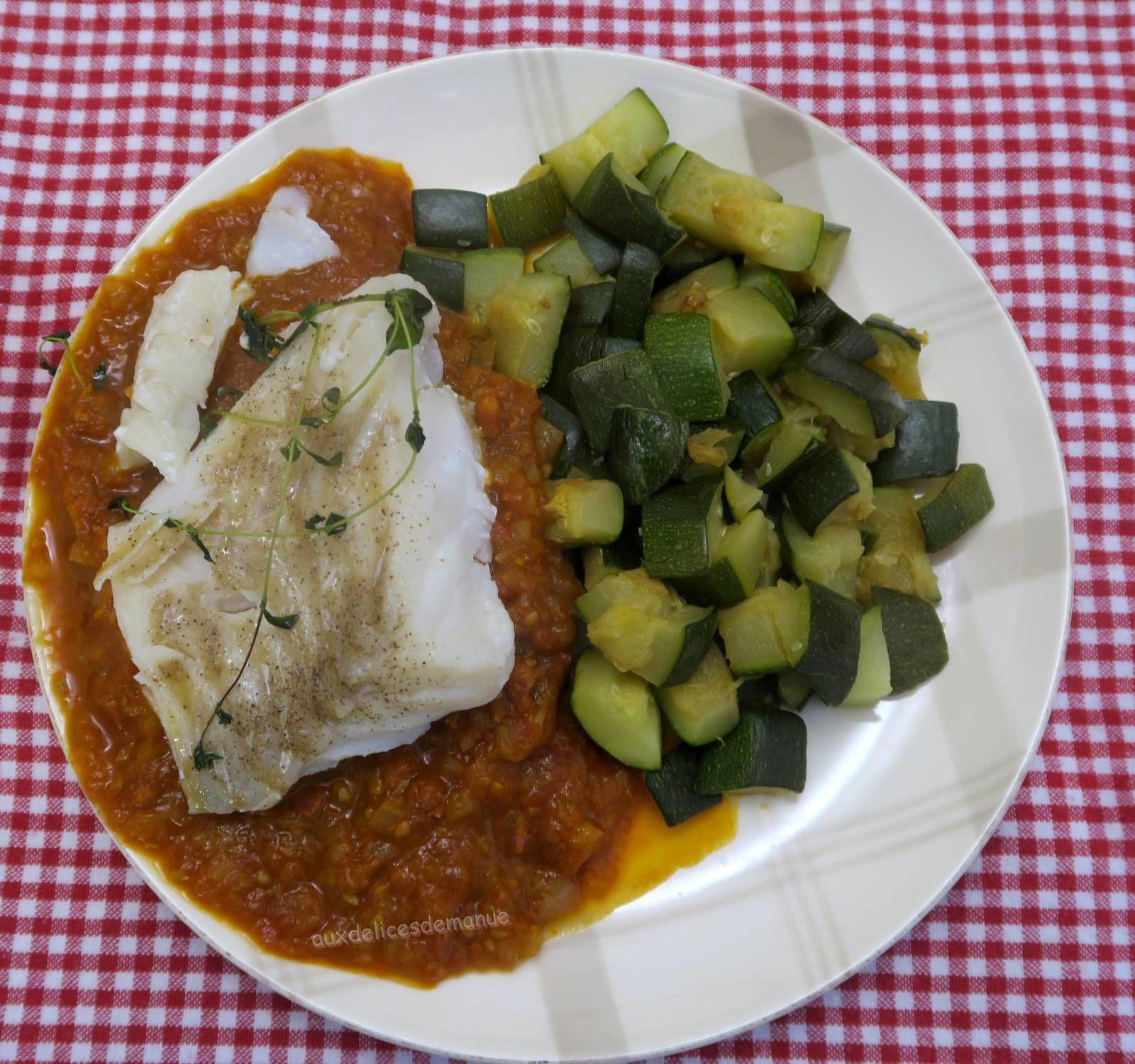 cabillaud,poisson,chorizo, courgette,tomates,micro-ondes