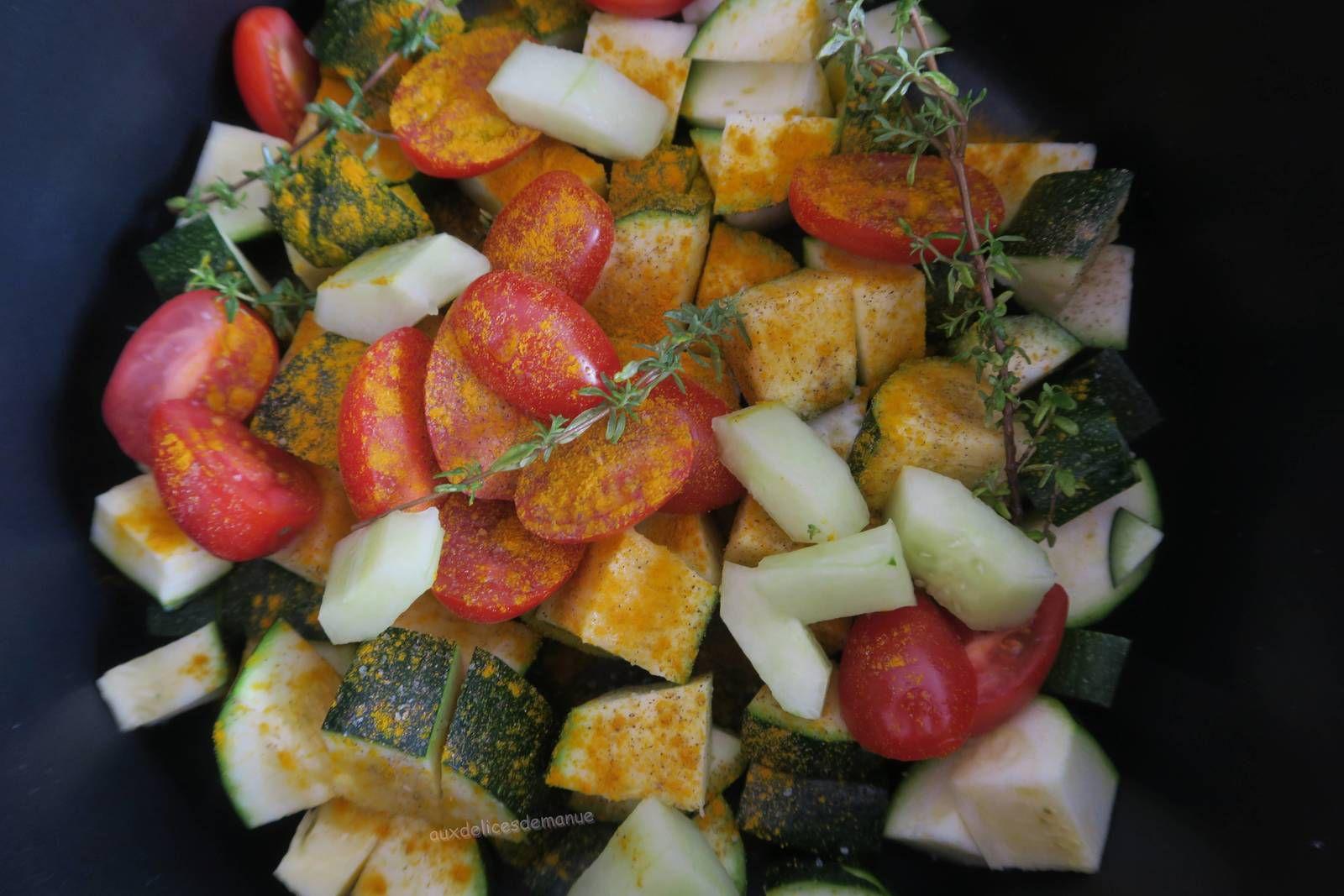 Sole au court-bouillon et légumes au curcuma -light-