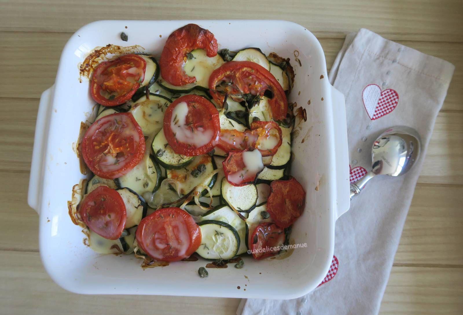 Gratin de courgettes et tomates aux câpres, anchois et cancoillotte -light