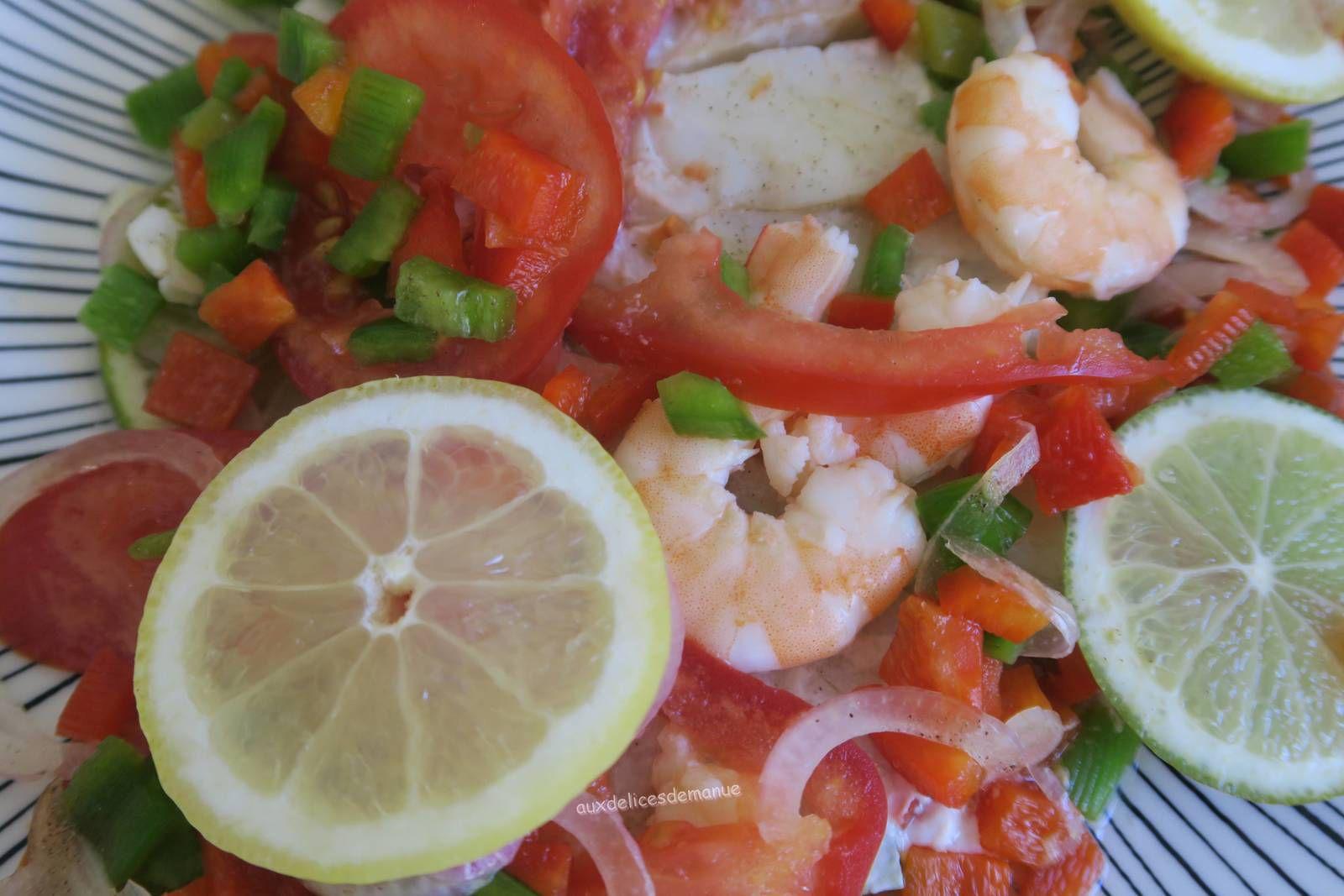 Papillote de cabillaud et crevettes aux deux citrons, tomate et poivrons-light