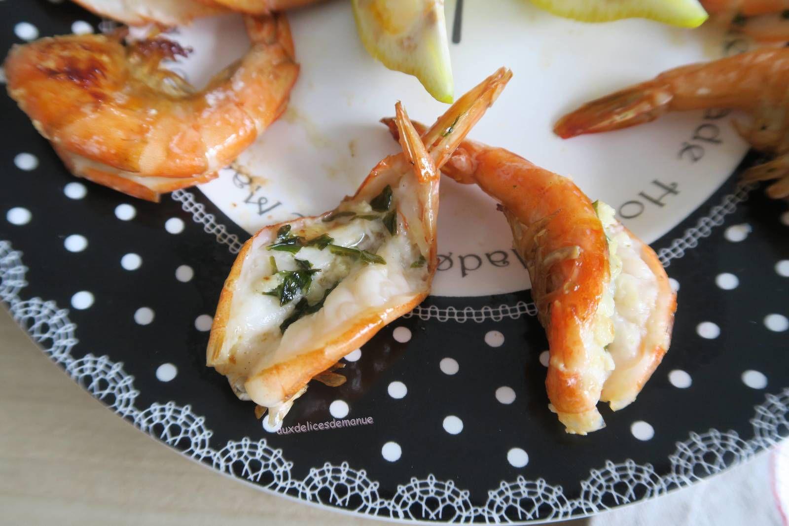 Gambas au beurre ail et persil et jus de citron, à la plancha