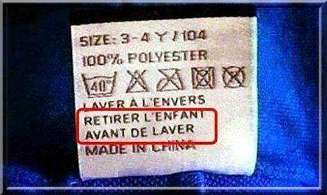 Conditions de lavage Made in China !