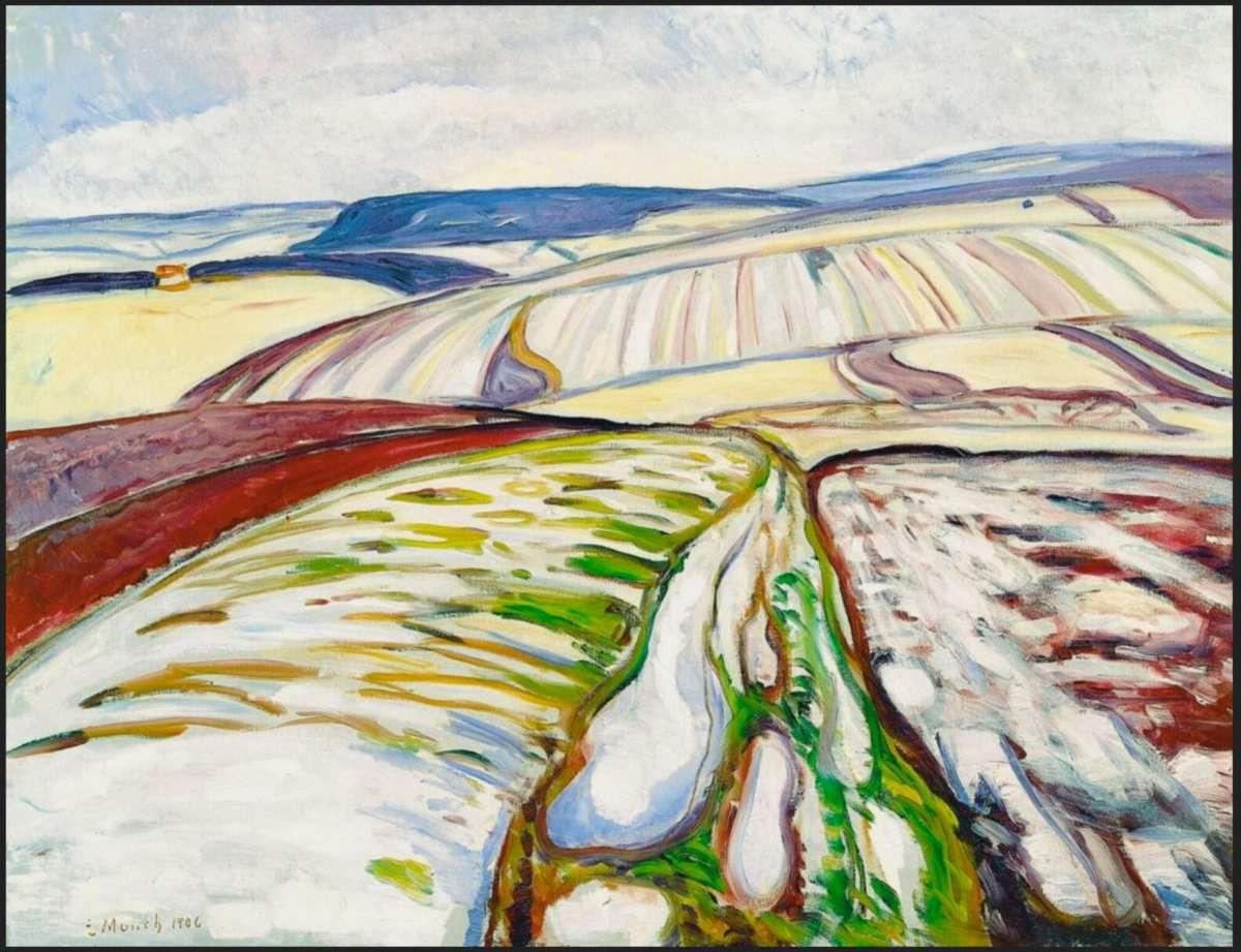Edvard Munch, Paysage de neige, Thuringe (1906), Huile sur toile 71 x 91 cm