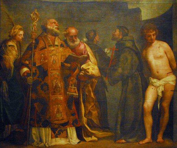 La Madonna di S. Niccolo dei Frari (detail of lower portion) Titian, 16th C (Tiziano Vecellio)