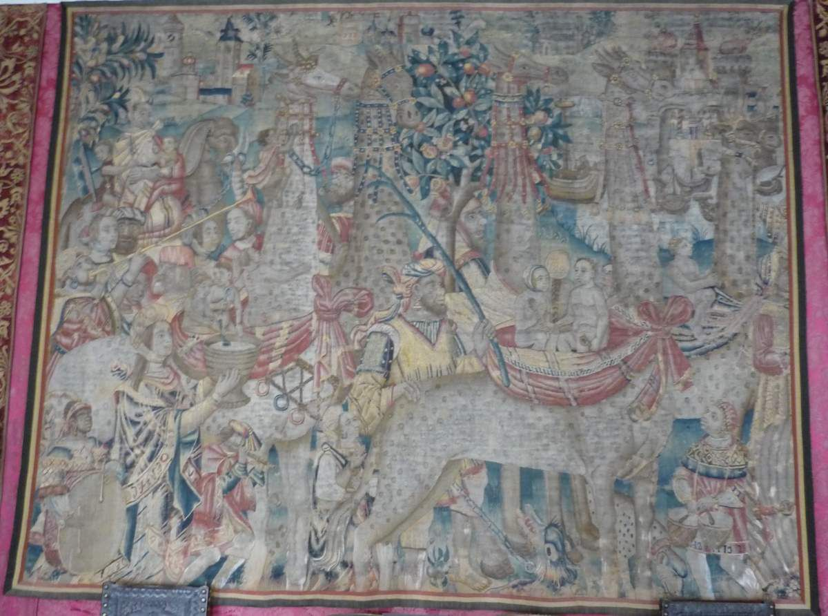 """""""Procession with giraffes"""", Tapestry, Tournai Workshop, 16th century (c. 1510), wool and silk."""