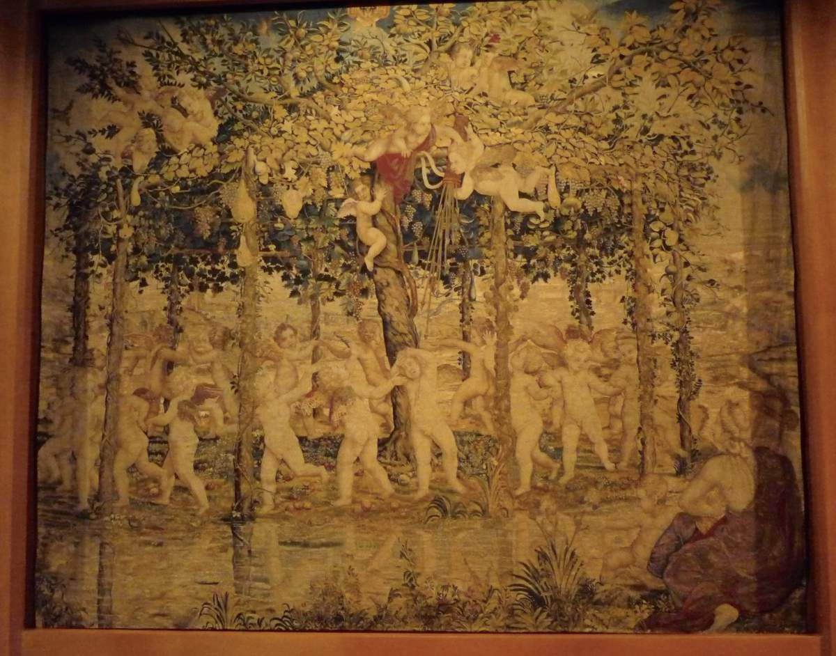 """The Dance, Tapestry from the set """"Children Palying"""", after Giulio Romano, Mantua, ca. 1540, Wool, silk, gold ans silver threads"""