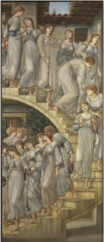 Edward Coley Burne-Jones, The Golden Stairs, 1880, huile sur toile ; King Cophetua and the Beggar Maid, 1884, huile sur toile