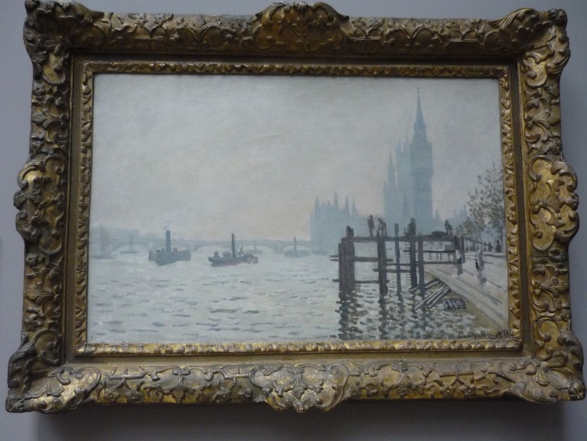 Claude Monet, The Thames below Westminster, ca 1871 ; The Gare St-Lazare, 1877 ;  Lavacourt Under Snow,1878-1881 ; Water-Lilies, Setting Sun, about 1907