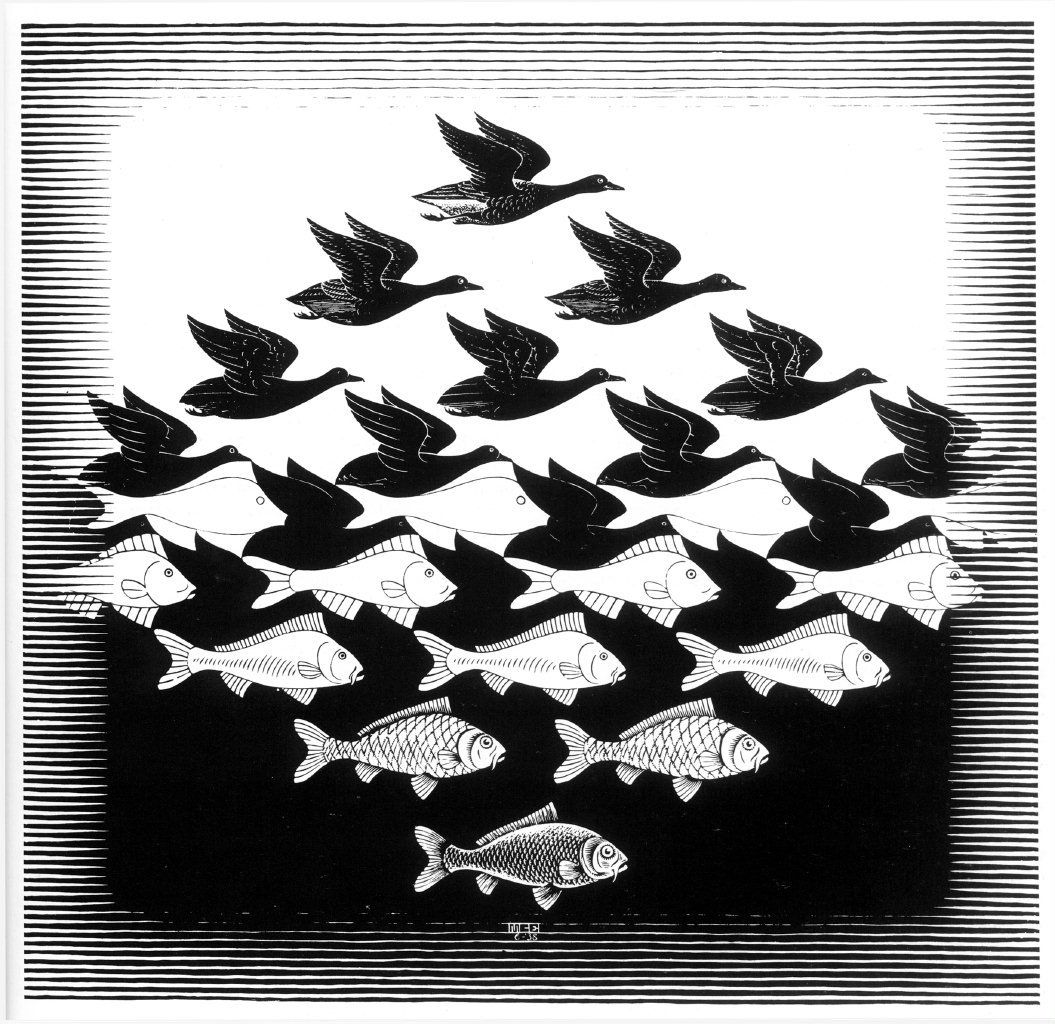 Maurits Cornelis Escher, Day and night one, February 1938, Black and grey woodcut, printed in two blocks ; Sky and Water I, June 1938, Woodcut, 439 mm x 435 mm ; Relativity, July 1953, Litograph ; The Encounter, 1944, Litograph © Internet