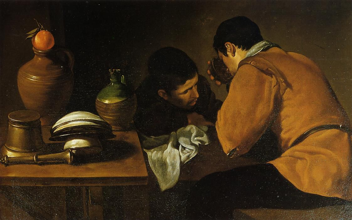 Diego Velazquez, Two Young men, eating at a humble table