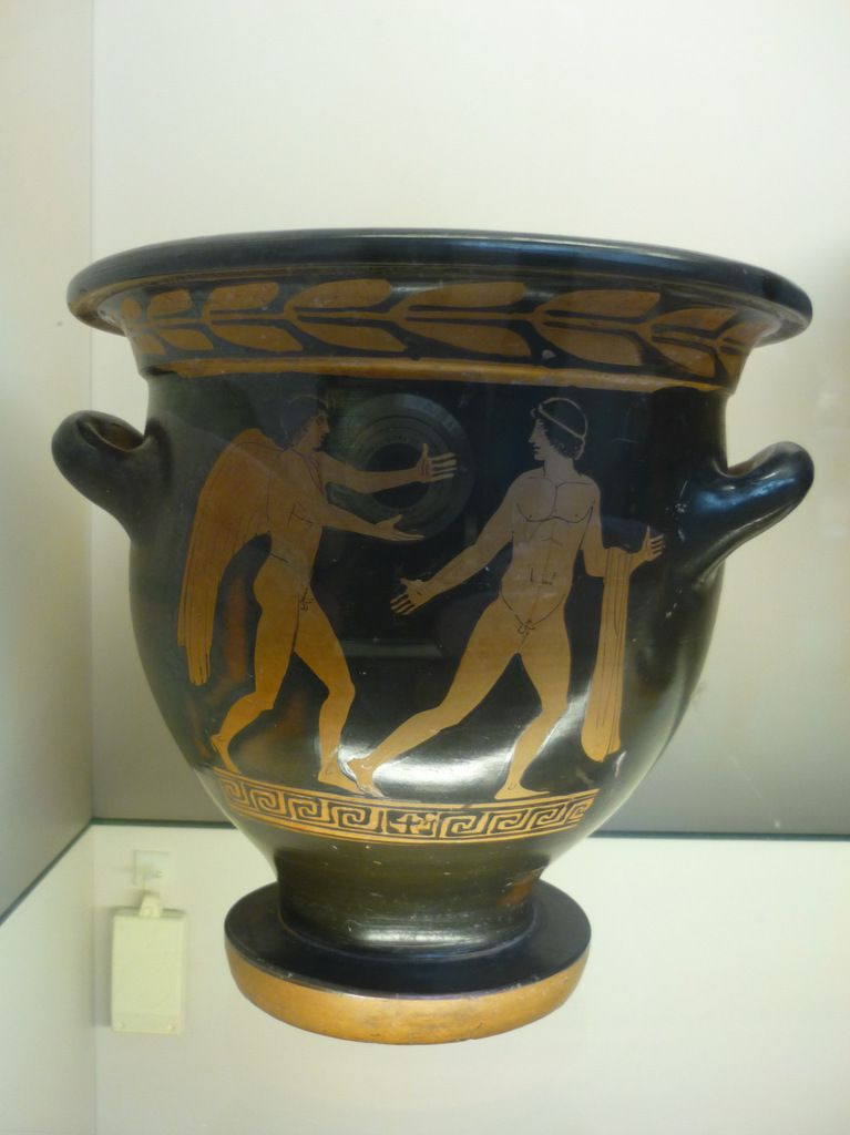 Red-figured bell-krater (wine bowl) with Eros and a youth. Made in Lucania about 440-430 BC, attributed to the Pisticci Painter