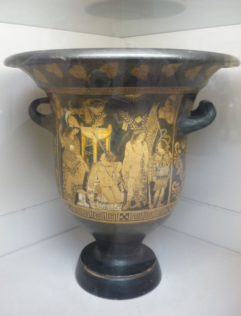 Red-figured bell-krater (wine bowl) with Orestes at Delphi. Made at Paestum about 330 BC, attributed to Python as painter.