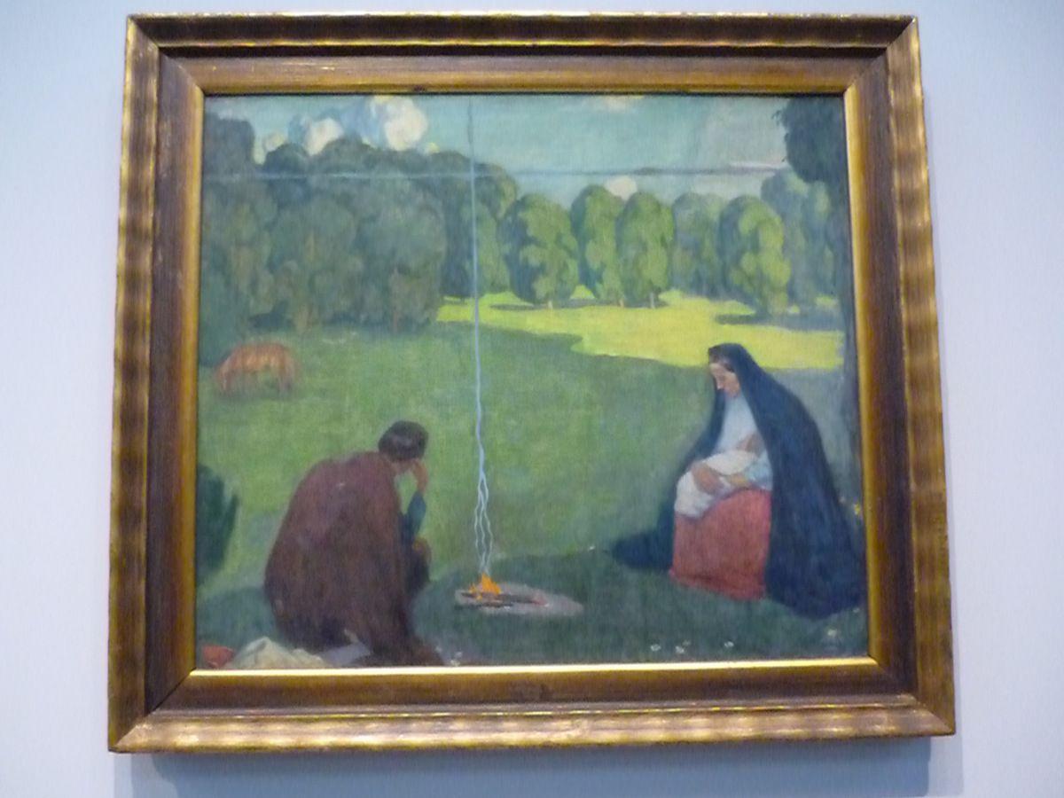 Kristjan Raud (1865-1943), le Repos durant le voyage, dit aussi : la Fuite en Egypte. La Croix. Au pied de la croix, vers 1905, Tempera sur toile