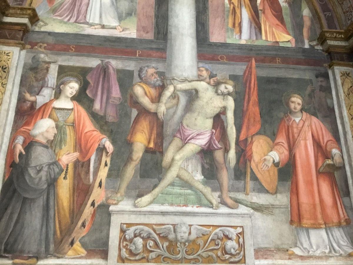 Bernardino Luini (1530), Christ to the Column, St. Catherine and Francesco Bezozzi, St Stephen (Besozzi Chapel)