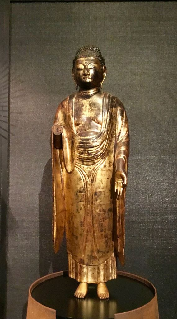 Standing Amida Buddha, Hollowed-out wood, gilded lacquer, En of Heian – early Kamakura, 12th-13th century