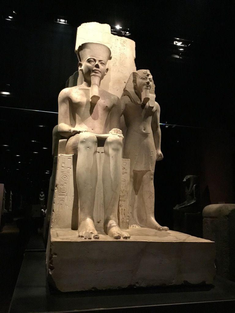 Statue of the pharaoh Horemheb with god Amun, Limestone, New Kingdom, 18th Dynesty (1319-1292 BC)