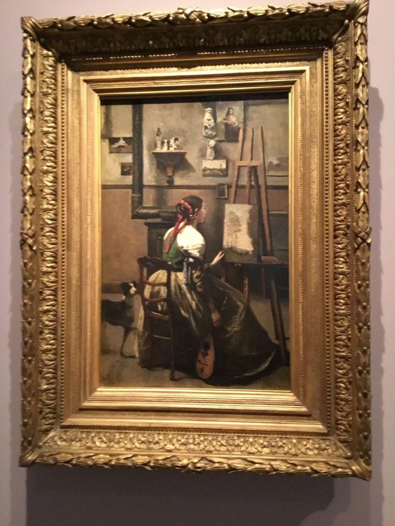 L'Atelier de Corot. Jeune femme assise devant un chevalet. Vers 1873.