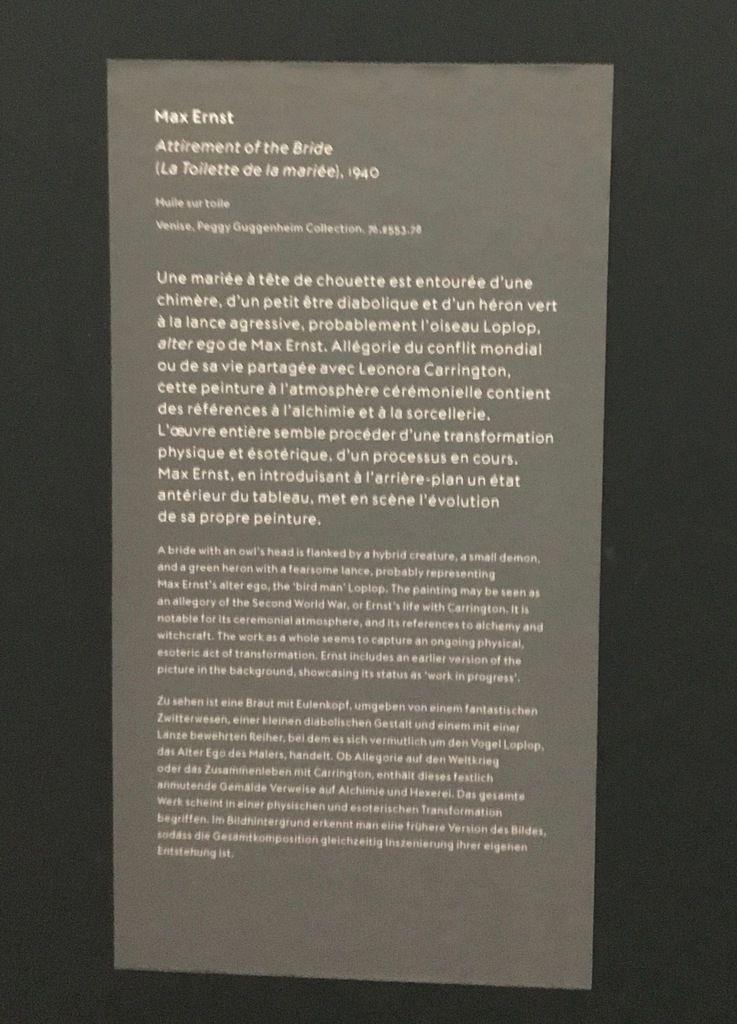 Max Ernst, la Toilette de la mariée, 1940, Huile sur toile, Venise, Peggy Guggenheim