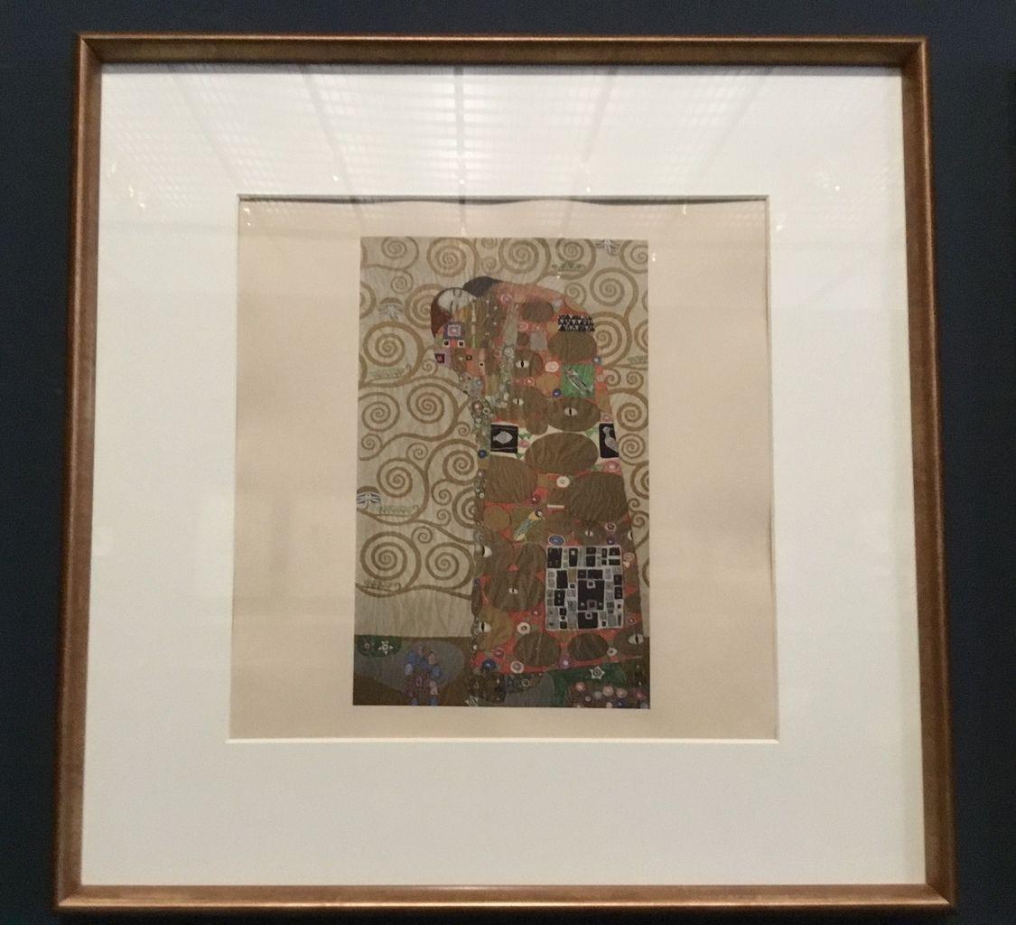 Gustav Klimt, Dessin préparatoire à Die Erfüllung (l'Accomplissement) pour la mosaïque murale de la salle à manger du palais Stoclet à Bruxelles, 1908-1910. Héliogravure tirée du portfolio Gustav Klimt. Eine Nachlese, Vienne, Gustav Klimt/ Wien 1900 Foundation.