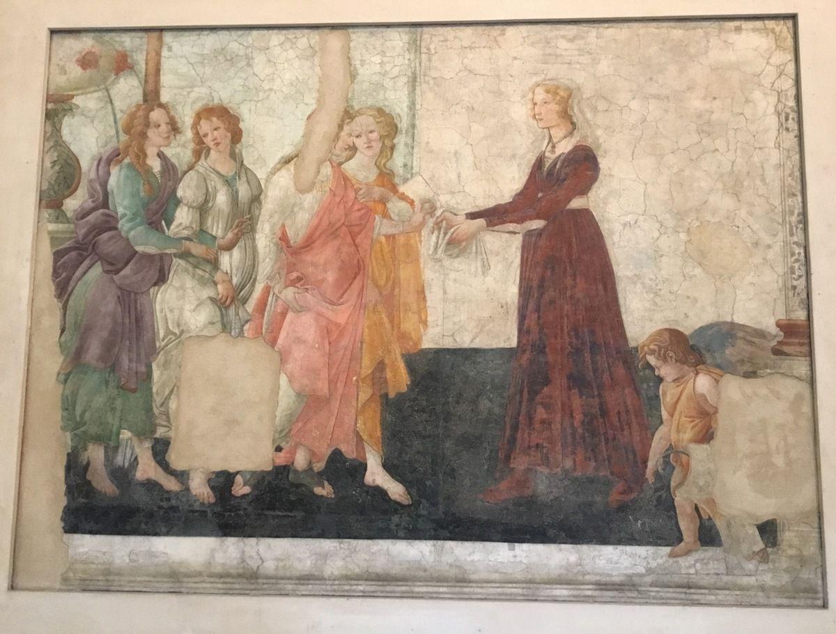 Alessandro Filipepi dit Botticelli (vers 1445-1510), Florence et les trois Grâces offrant des présents à une jeune fille. Vers 1483-1485. Fresque.