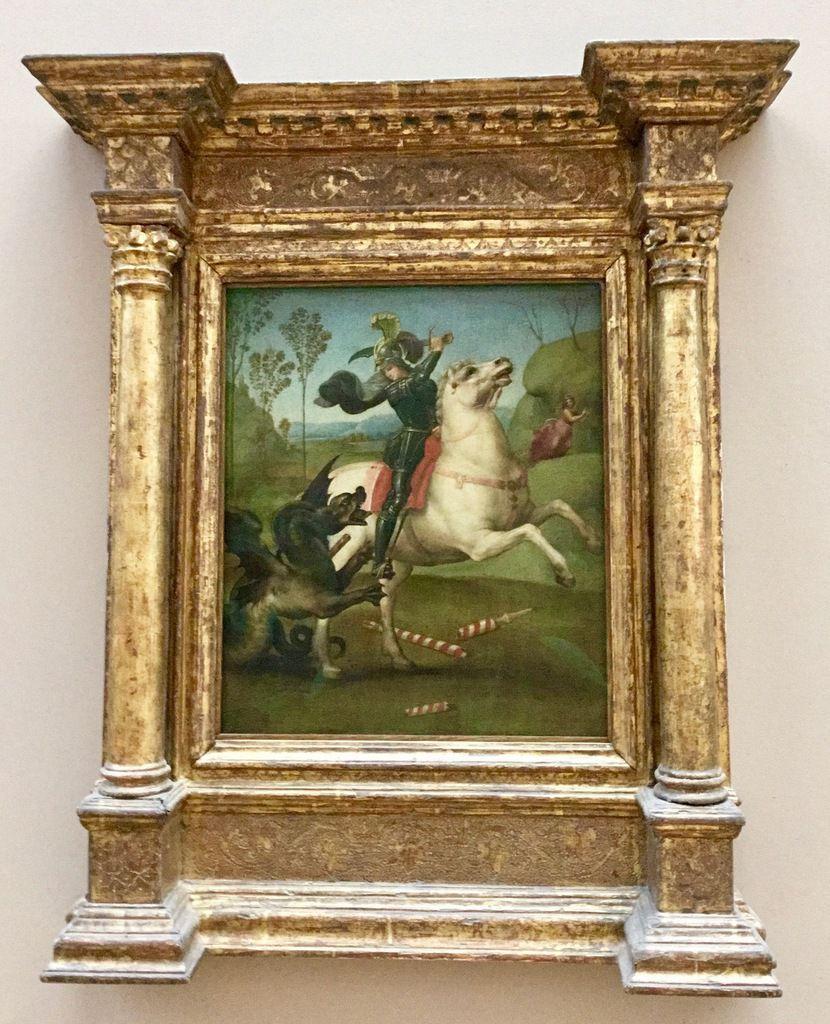 """Raffaello Santi, dit Raphaël (1483-1520), Saint Michel terrassant le dragon dit le """"Petit saint Michel"""" ; Raphaël, Saint Georges luttant avec le dragon."""