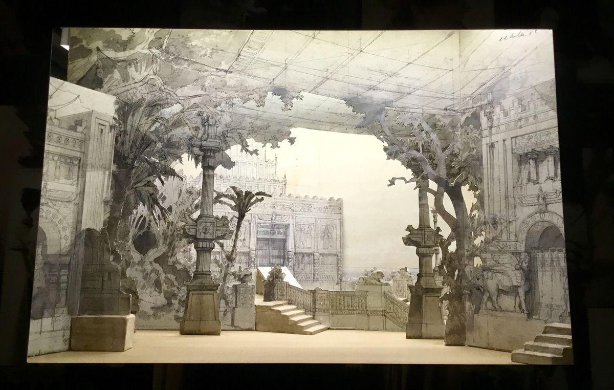 Maquette du décor pour Salammbô, Ernest Reyer (Création mondiale à La Monnaie 10 février 1890) : le festin des mercenaires dans le jardin
