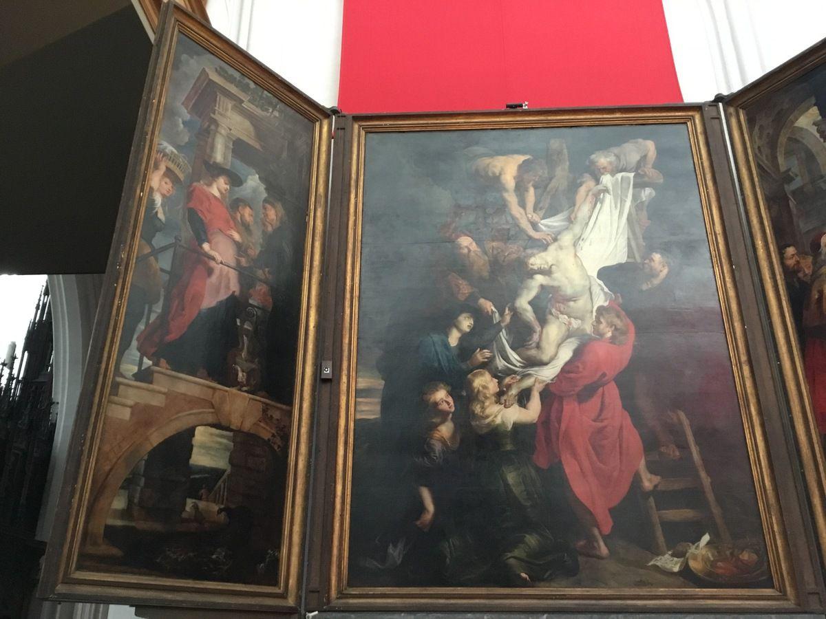 Pierre Paul Rubens, la Descente de croix, Triptyque de la Guilde des Arquebusiers, 1611-1614, Huile sur panneau, 421 x 311 cm (panneau central, 421 x 153 cm (volets latéraux)
